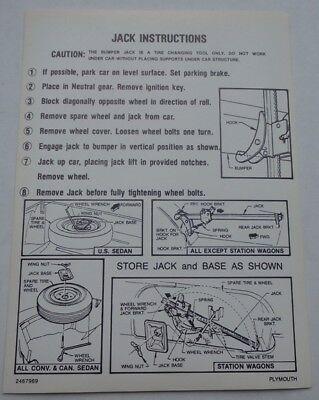 Mopar 65 Plymouth Fury Jack Instructions Decal NEW 1965 2467969 DD0534