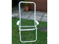 White. Metal multi position garden chair frame only