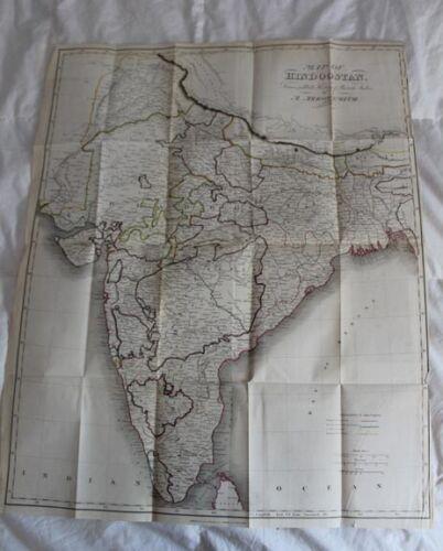 "1840 25x21""Map of Hindoostan India  GOOD CONDITION"