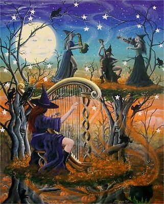 Folk Art Halloween Witches Playing Instruments Musical Harp Full Moon](Halloween Witches Music)