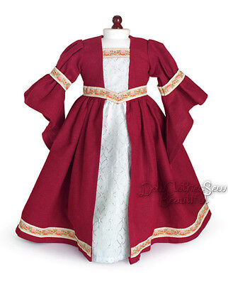Apryl 18 DOLL CLOTHES fits American Girl Burgandy Renaissance Dress Costume on Rummage
