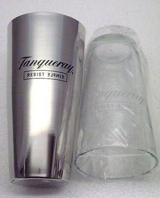 Martini Mixer Boston Shaker Set 2 pc Tanqueray Glass and Metal New In Box NOS