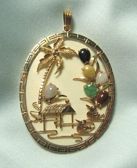 14K Gold & Semi Precious Stone Pendant  / Tropical Scene  13.2 grams total