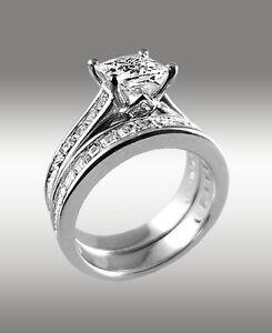 372Ct Princess Cut Engagement Ring W Matching Wedding Band 14K Solid White Gold