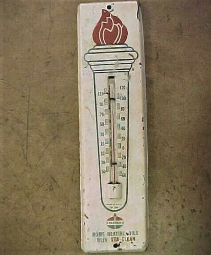 Vintage Tin Standard Oil Sta-Clean Advertising Thermometer Made in USA