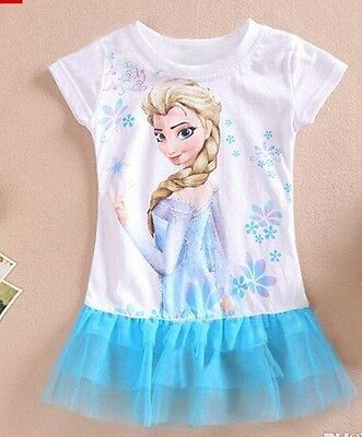 Cheap Frozen Dresses (Frozen Disney Elsa Anna Tutu Dress Disney blue age 3 -8  years UK STOCK)