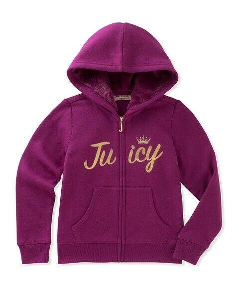 Juicy Couture Purple Zip Up Fuzzy Hoodie Girls Size M (8/10) #300