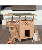 Wood House Condo Cat Tree Shelter Play Furniture w/ Roof Stairs