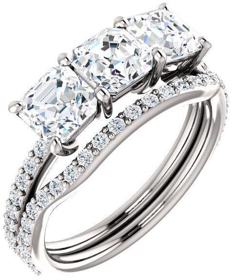 2.00 ct 3 Asscher cut Diamond Wedding Ring GIA E VS1 14k White Gold Band #115 5
