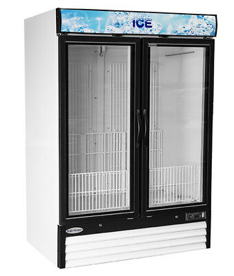 New Large 48 Cu Ft Glass Ice Bag Freezer Merchandiser 2 Swing Door Free Shipping
