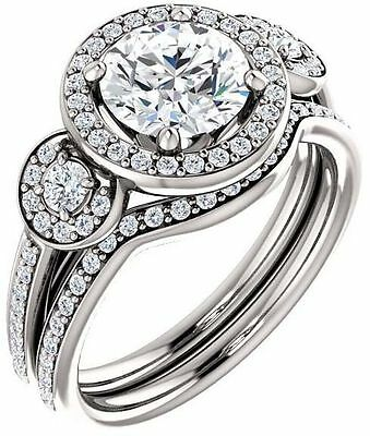 GIA 1.20 carat Round Diamond Halo Engagement 14K White Gold Ring 1.57 ct tw G VS