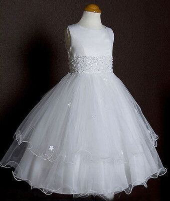 Flower Girls First Communion Triple Layered Tulle White Dress Pageant Wedding (Triple Layer Girl Dress)