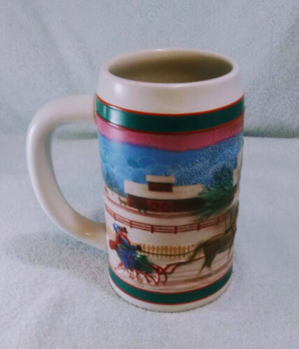 """MILLER HIGH LIFE CHRISTMAS BEER STEIN """"TO THE BEST HOLIDAY TRADITIONS"""" ~USED~"""