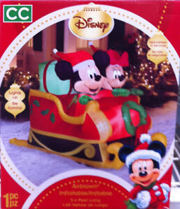 Disney Inflatable Airblown Mickey and Minnie in Christmas Sled St. John's Newfoundland image 1