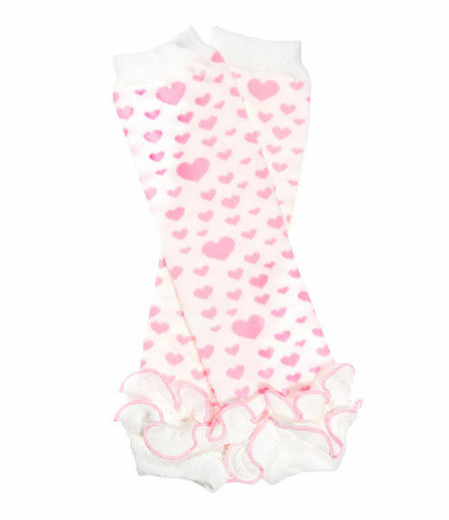 "White and Pink Hearts Ruffled Leg Warmers 12"" Valentine"