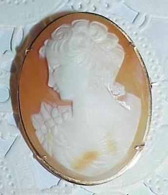 18K Cameo Oval Dome Victorian Lady Brooch Pin Antique Carved Lady Gorgeous