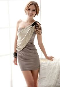 New Korea fashion sexy one Shoulder Ball Cocktail Clubwear party Mini Dress