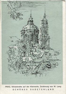 Alte Kunstpostkarte - W. Lang - Prag, Niklaskirche auf der Kleinseite
