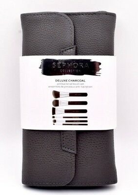 Sephora Deluxe Charcoal Antibacterial Brush Set  New Authentic  Nwt