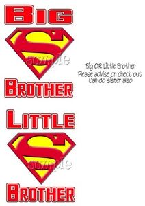 IRON ON TRANSFER LITTLE OR BIG BROTHER SUPERMAN SUPERMAN 10x14cm