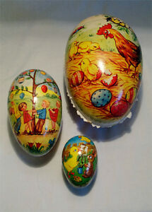 3 Vintage German Paper Mache Easter Egg Candy Containers
