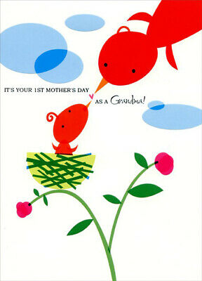 Bird Feeding Baby in Nest: Grandma's 1st - Designer Greetings Mother's Day Card