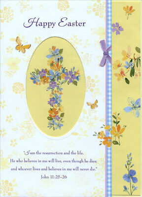 Floral Cross in Die Cut Window - Designer Greetings Religious Easter Card (Religious Easter Cards)
