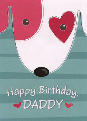 Dog Face with Red Heart Around Eye: Daddy - Designer Greetings Birthday Card](Red Heart With Eyes)