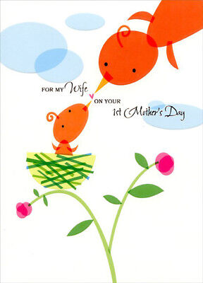 Bird Feeding Baby in Nest: Wife's 1st - Designer Greetings Mother's Day Card