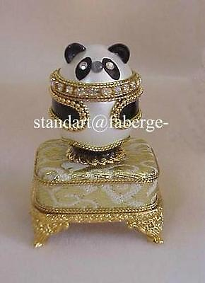 "Panda Music Box Egg plays ""Fur Elise"" with Red Faberge Pendant Necklace"