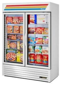 "True GDM-49-HC~TSL01 54"" White Glass Door Refrigerated Merchandiser with LED Lighting"