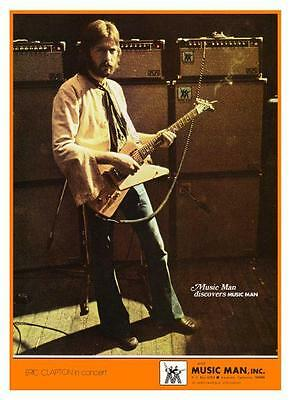 Eric Clapton  *LARGE POSTER*  Music Man Amp VINTAGE Image RARE Gibson Explorer