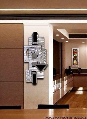 Modern Silver & Black Hanging Wall Clock - Abstract Metal Wall Art by Jon Allen