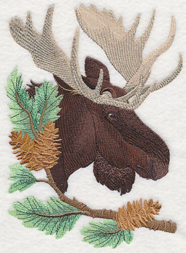 Large Embroidered Zippered Tote - Moose in Pine M6255