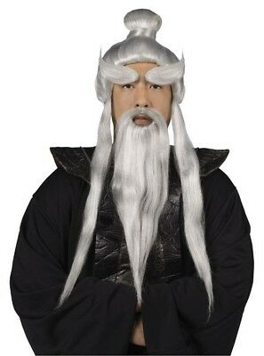 Adult Ninja Chinese Master Sensei Grey Gray Wig Beard & Brows Costume - Sensei Master Halloween Costume