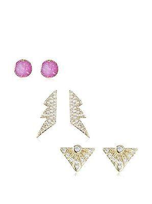 Chloe and Theodora Scarlett Set of 3 Gold Tone CZ Thunder Bolt Stud Earrings