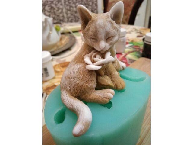 Resin mold 3d flower cute cat soap cake decoration