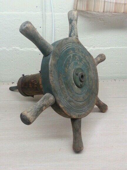 Antique primitive, marine, naval steering wheel boat
