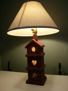 Vintage red ceramic lamp with shade