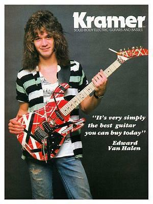 Van Halen  *LARGE POSTER* Eddie model strat KRAMER Guitar AD - AMAZING EARLY PIC