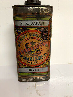 Vintage Antique S.K JAPAN Berry Brothers Tin Can Detroit 1/4 gallon