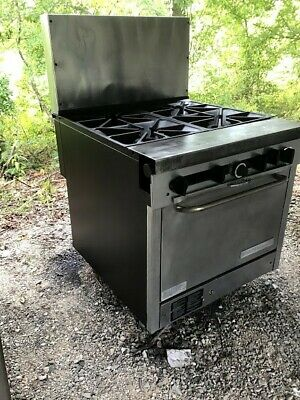 Commercial Natural Gas Stove Range 4 Burner Southbend Hussman 32 Hot Plate Oven