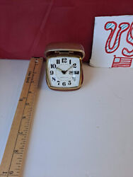 Vintage Westclox Folding Clam Shell Case Travel Alarm Clock Made In USA!