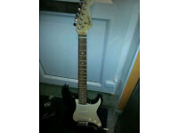 SQUIER STRAT BY FENDER ELECTRIC GUITAR WITH AMPLIFIER