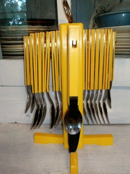 Mid Mod Set of Cutlery With Yellow Plastic Handles