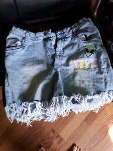 Womens Shorts-Disturbia Brand High Wasted