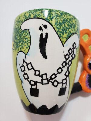 Halloween Coffee Mug Ghost Sculpted Boo Handle with Cat 15 oz RARE Garden Ridge