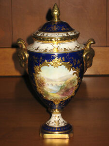 Coalport Cobalt Blue Vase with Lid