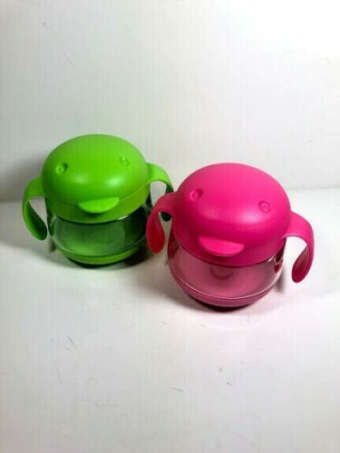 Ubbi Kids 2 Pack Snack Handles Containers Green Pink NEW