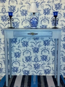 Hand-Painted Two-Toned Blue and Grey Shabby Chic Table